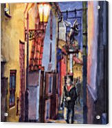 Prague Old Street Golden Line Acrylic Print
