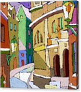 Prague Old Street Karlova Winter Acrylic Print by Yuriy  Shevchuk
