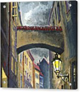 Prague Old Street Love Story Acrylic Print