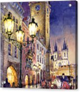 Prague Old Town Square 3 Acrylic Print by Yuriy  Shevchuk
