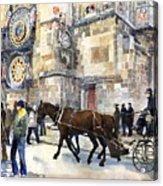 Prague Old Town Square Astronomical Clock Or Prague Orloj  Acrylic Print by Yuriy  Shevchuk