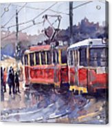 Prague Old Tram 01 Acrylic Print by Yuriy  Shevchuk