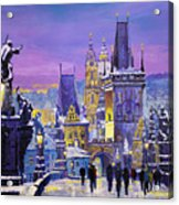 Prague Winter Charles Bridge 3 Acrylic Print