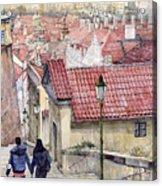 Prague Zamecky Schody Castle Steps Acrylic Print by Yuriy  Shevchuk