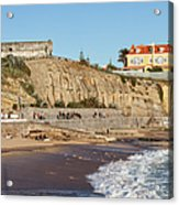 Praia Da Poca Beach In Estoril Portugal Acrylic Print