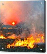 Prairie Burn Sunset In Kansas Acrylic Print