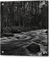 Prairie River Whitewater Black And White Acrylic Print