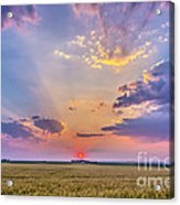 Prairie Sunset With Crepuscular Rays Acrylic Print