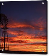 Prairie Sunset With Windmill Acrylic Print