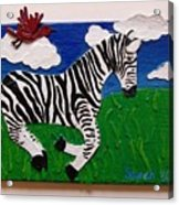 Prancing Zebra And Bird Acrylic Print