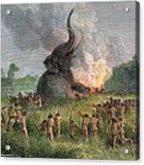 Prehistoric Mammoth Hunt Acrylic Print