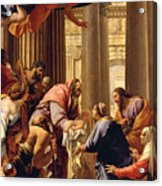 Presentation In The Temple Acrylic Print by Simon Vouet