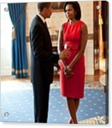 President And Michelle Obama Talk Acrylic Print by Everett