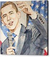 President Barack Obama Speaking Acrylic Print by Andrew Bowers