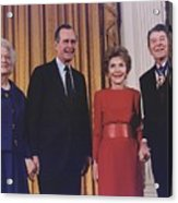 President George Bush Presents Acrylic Print by Everett