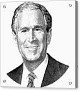 President George W. Bush Graphic - Black And White Acrylic Print