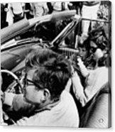President Kennedy Drives An Open Car Acrylic Print by Everett