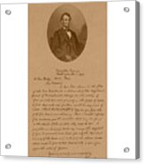 President Lincoln's Letter To Mrs. Bixby Acrylic Print