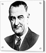President Lyndon Johnson Graphic - Black And White Acrylic Print