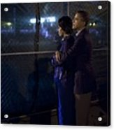 President Obama Embraces Michelle Acrylic Print by Everett