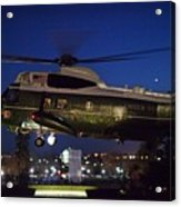President Obama Reading As Marine One Acrylic Print
