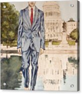 President Obama Walking On Water Acrylic Print
