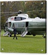 President Obama Walking Toward Marine One Acrylic Print