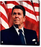 President Ronald Reagan Speaking - 1982 Acrylic Print