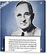 President Truman Speaking For America Acrylic Print