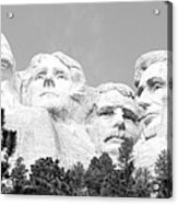 Presidents Of Mount Rushmore Framed By South Dakota Forest Trees Panoramic Black And White Acrylic Print