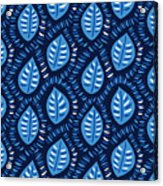 Pretty Decorative Blue Leaves Pattern Acrylic Print