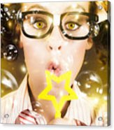 Pretty Geek Girl At Birthday Party Celebration Acrylic Print
