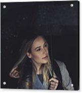 Pretty Girl At Rainy Night Outdoors Acrylic Print