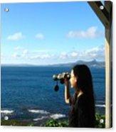 Pretty Girl Looking Through Binoculars Acrylic Print