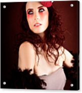 Pretty Glamour Fashion Girl On Red Backlight Acrylic Print