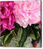 Pretty Pink Peonies In Ball Jar Vase Acrylic Print