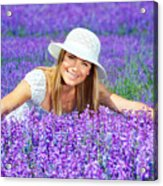 Pretty Woman On Lavender Field Acrylic Print