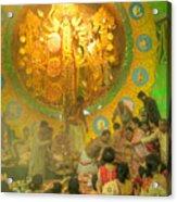 Priest Distributing Flowers For Praying To Goddess Durga Durga Puja Festival Kolkata India Acrylic Print