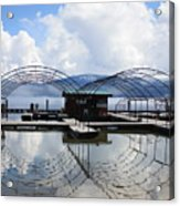 Priest Lake Boat Dock Reflection Acrylic Print