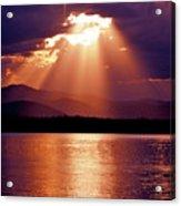 Priest Lake Sunset Heavenly Light Acrylic Print