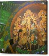 Priest Praying To Goddess Durga Durga Puja Festival Kolkata India Acrylic Print