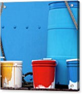 Primary Colors - Paint Buckets On A Ship Acrylic Print