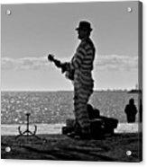 Prison Break Blues.  Busking On The Acrylic Print