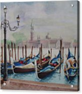 Parking Gondolas In Venice Acrylic Print by Charles Hetenyi