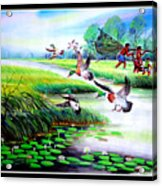 Artistic Painting Photo Flying Bird Handmade Painted Village Art Photo Acrylic Print