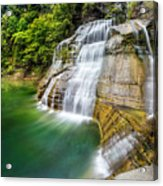 Profile Of The Lower Falls At Enfield Glen Acrylic Print