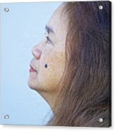 Profile Portrait Of A Lovely Filipina With A Mole On Her Cheek   Acrylic Print