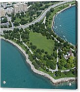 Promontory Point In Burnham Park In Chicago Aerial Photo Acrylic Print