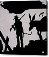 Prospector And Mule  In Metal Tombstone Arizona 2004-2014 Acrylic Print