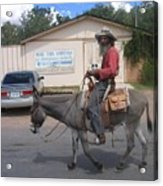 Prospector Re-enactor With Burro Passing Rose Bush Museum Sign Tombstone  Arizona 2004 Acrylic Print